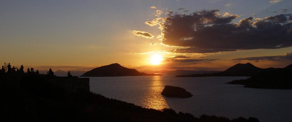 Sunset over cape Sounion.