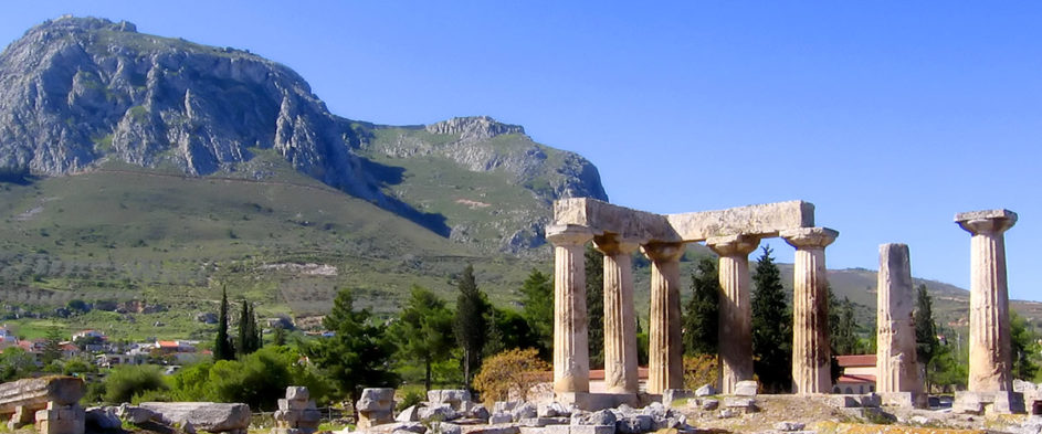 The temple of Apollo in ancient Corinth.