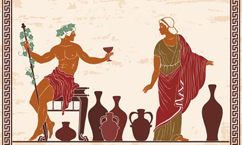 Ancient Greek art showing wine drinking