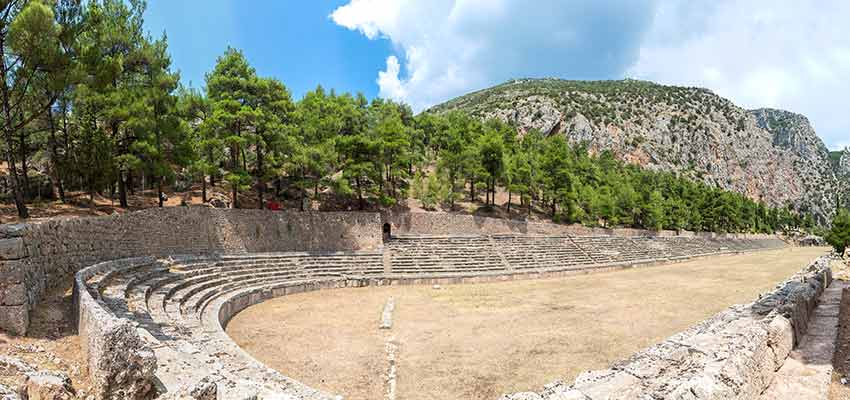 The well preserved ancient stadium of Delphi