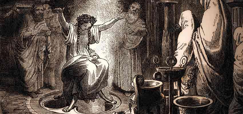 The high priestess Pythia at ancient Delphi